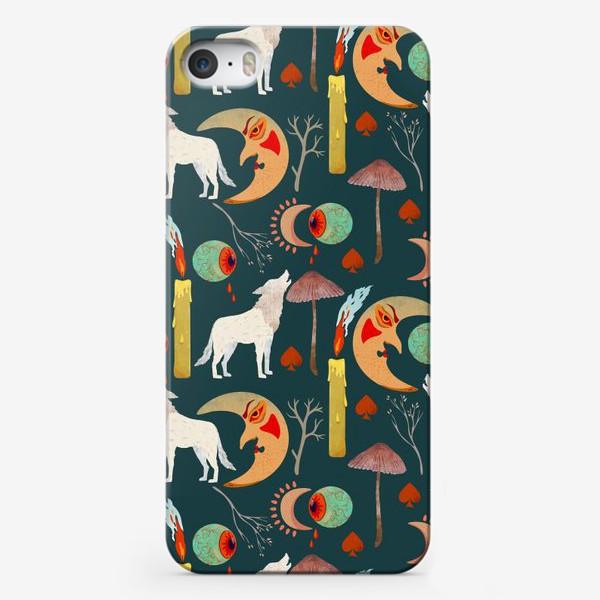 Чехол iPhone « Хэллоуин. Белый волк, мистическая луна, свеча, ветки, грибы, кровавые глаза»