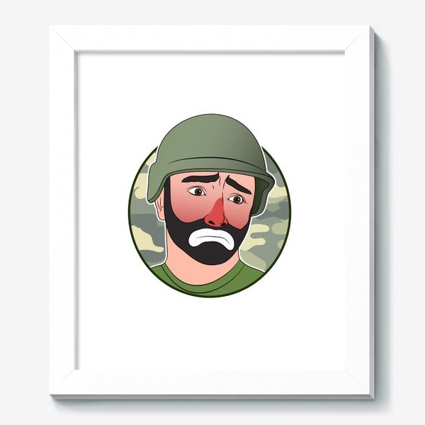 Картина «грустный клоун в каске»