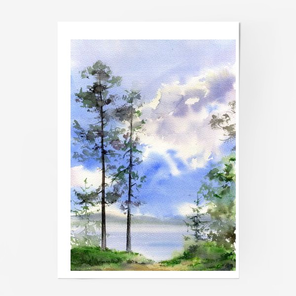 Постер «Акварель Летний лес»