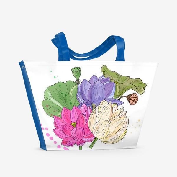 Пляжная сумка «букет лотосов»