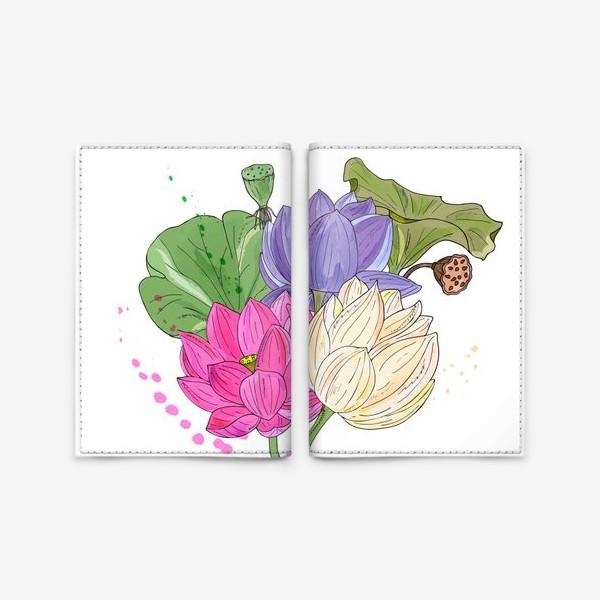 Обложка для паспорта «букет лотосов»