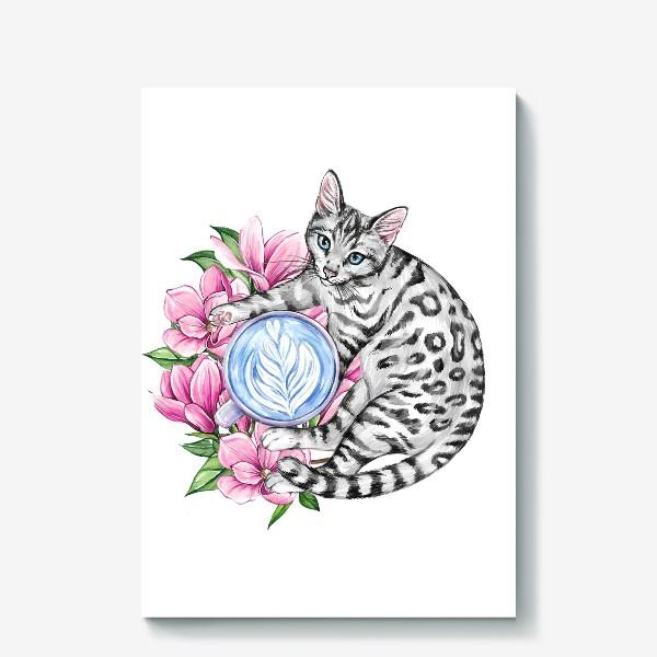 Холст «Котик и магнолия»