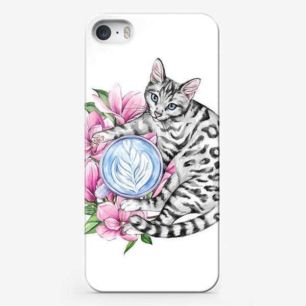 Чехол iPhone «Котик и магнолия»