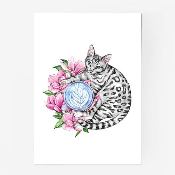 Постер «Котик и магнолия»