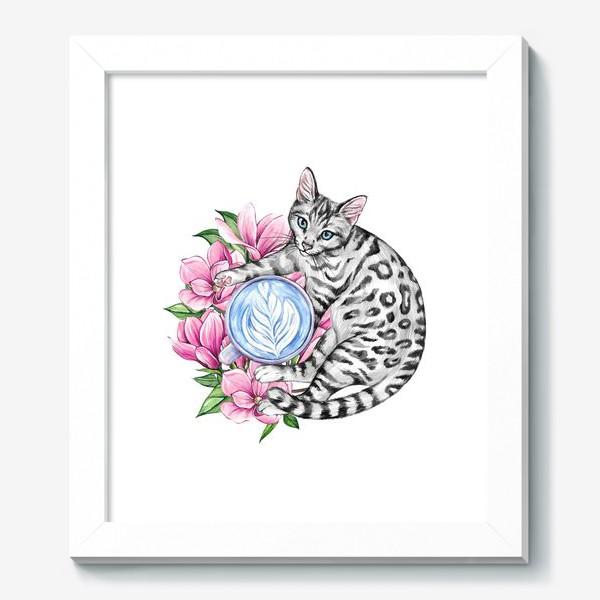 Картина «Котик и магнолия»