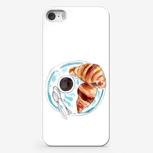 Чехол iPhone «Кофе и круассан. Идеальный завтрак!»