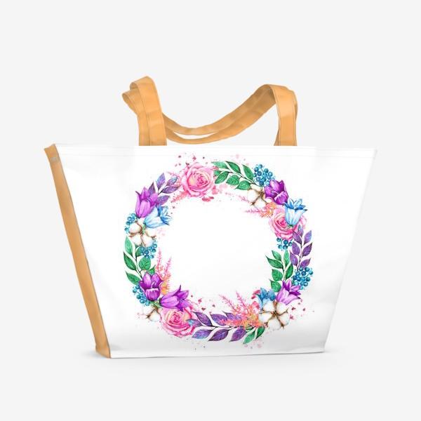 Пляжная сумка «Венок с колокольчиками»
