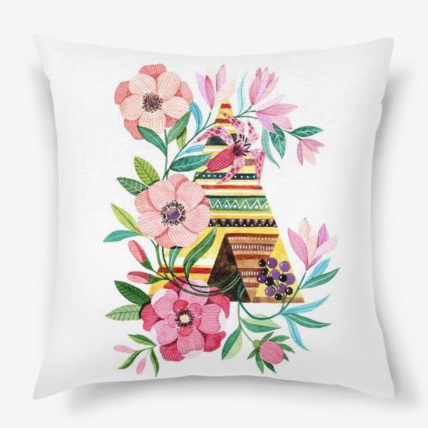 Подушка «Вигвам с цветами»