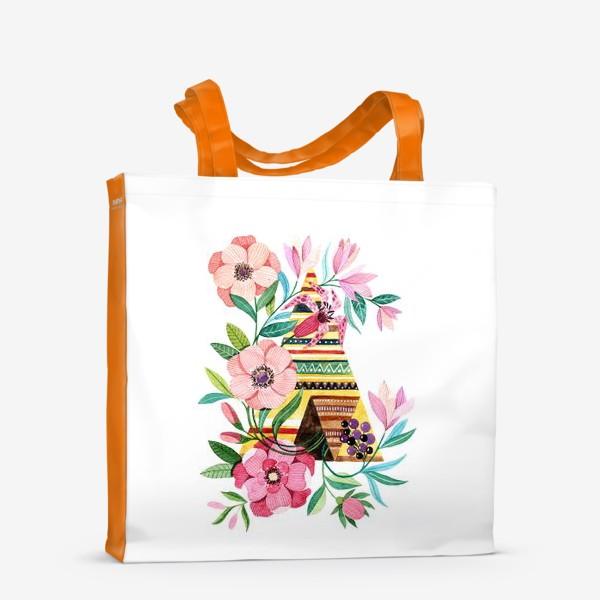 Сумка-шоппер «Вигвам с цветами»
