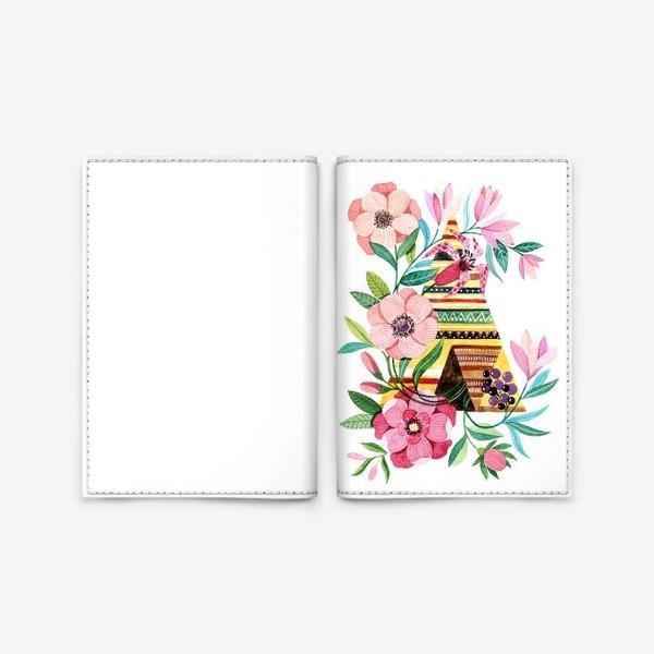 Обложка для паспорта «Вигвам с цветами»