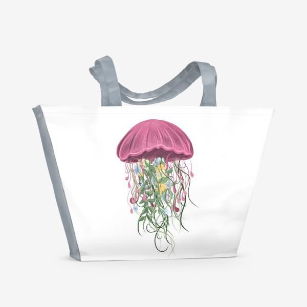 Пляжная сумка «Медуза и цветы»