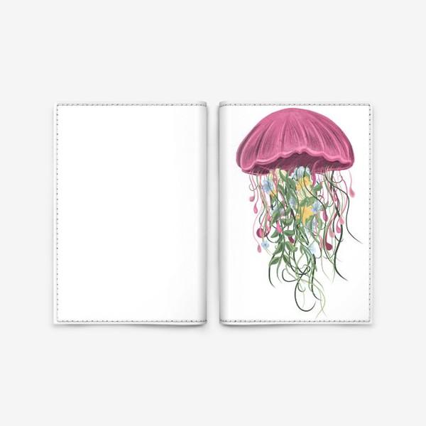 Обложка для паспорта «Медуза и цветы»