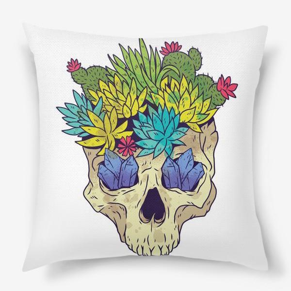 Подушка «Череп с кактусами и кристаллами»