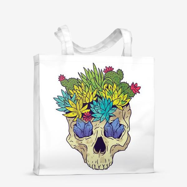 Сумка-шоппер «Череп с кактусами и кристаллами»