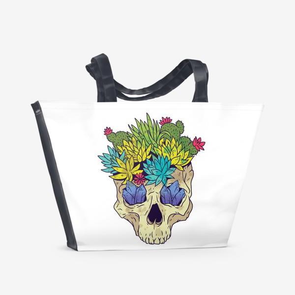 Пляжная сумка «Череп с кактусами и кристаллами»