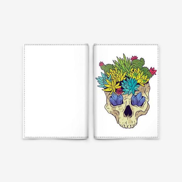Обложка для паспорта «Череп с кактусами и кристаллами»