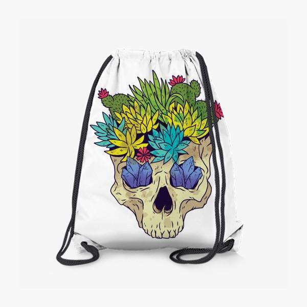Рюкзак «Череп с кактусами и кристаллами»