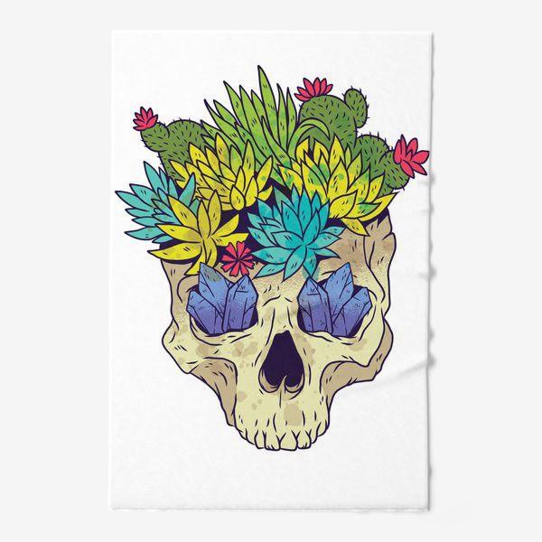 Полотенце «Череп с кактусами и кристаллами»