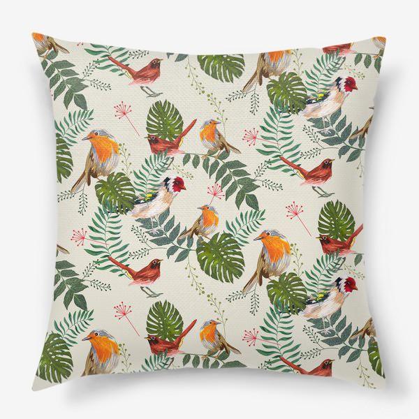 Подушка «Листья и птицы»