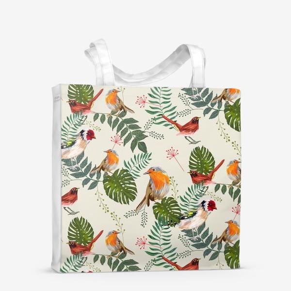 Сумка-шоппер «Листья и птицы»
