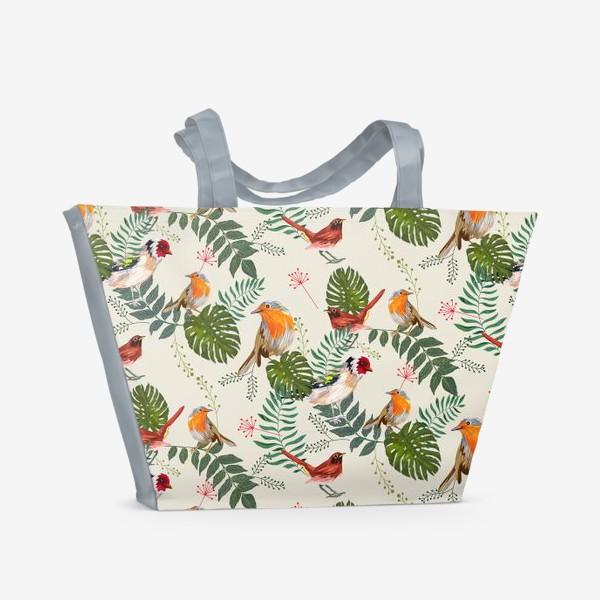 Пляжная сумка «Листья и птицы»