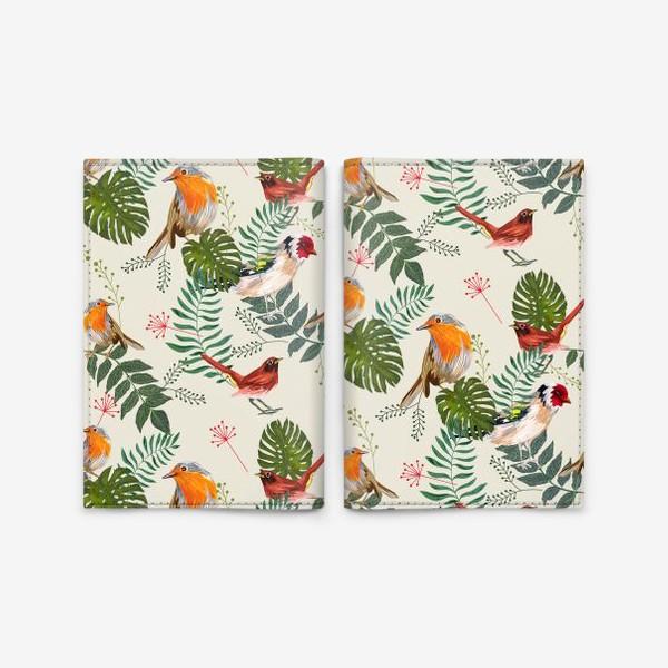Обложка для паспорта «Листья и птицы»