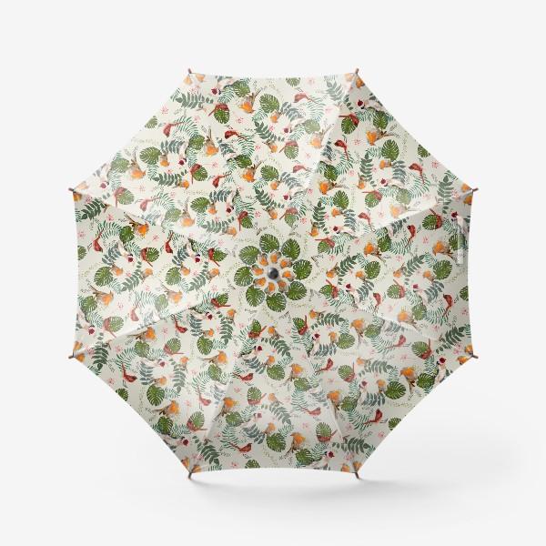 Зонт «Листья и птицы»