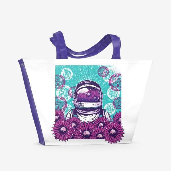 Пляжная сумка «Космонавт с цветами»