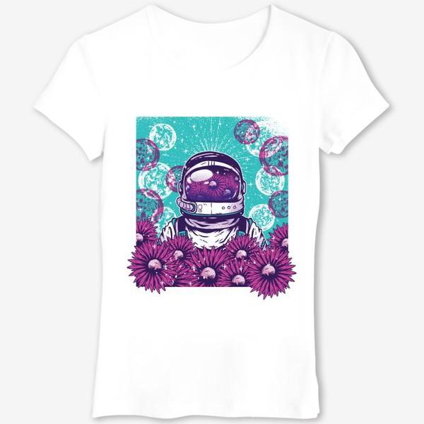 Футболка «Космонавт с цветами»