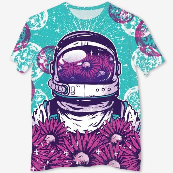 Футболка с полной запечаткой «Космонавт с цветами»