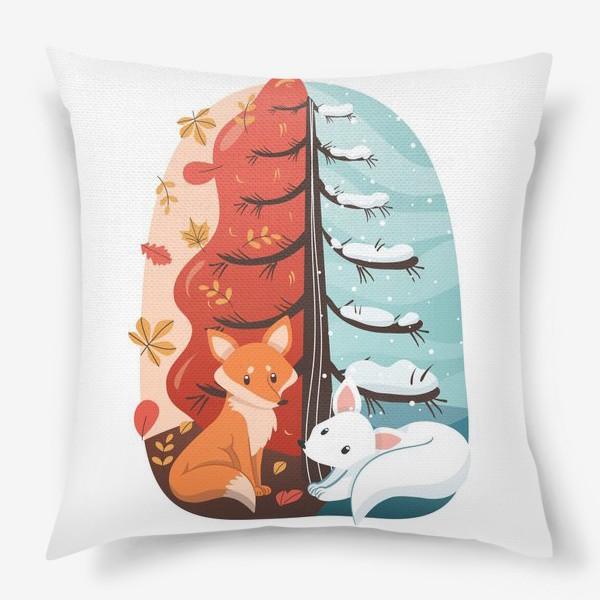 Подушка «Лисички - Осень и Зима»