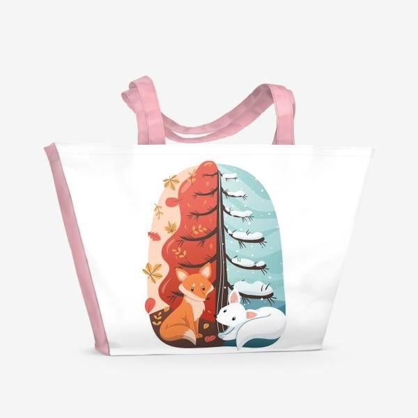 Пляжная сумка «Лисички - Осень и Зима»