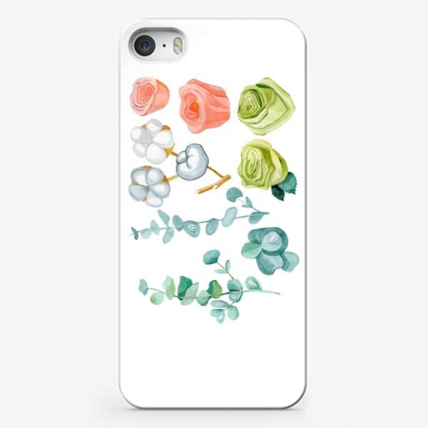 Чехол iPhone «Эвкалипт, Хлопок и розы»