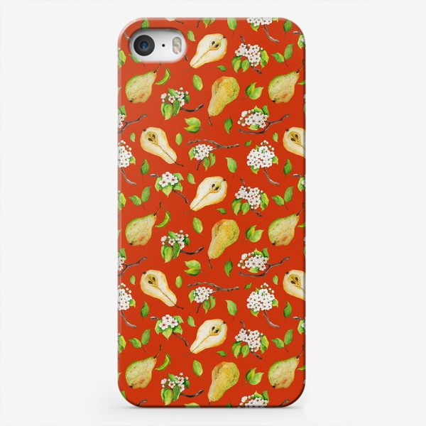 Чехол iPhone «Грушевый сад. На кирпичном фоне.»