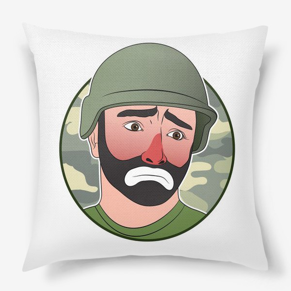 Подушка «грустный клоун в каске»