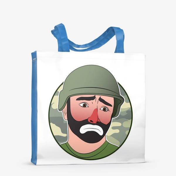 Сумка-шоппер «грустный клоун в каске»
