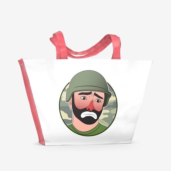 Пляжная сумка «грустный клоун в каске»
