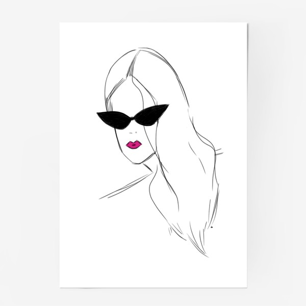 Постер «Девушка в черных очках. Fashion-girl»