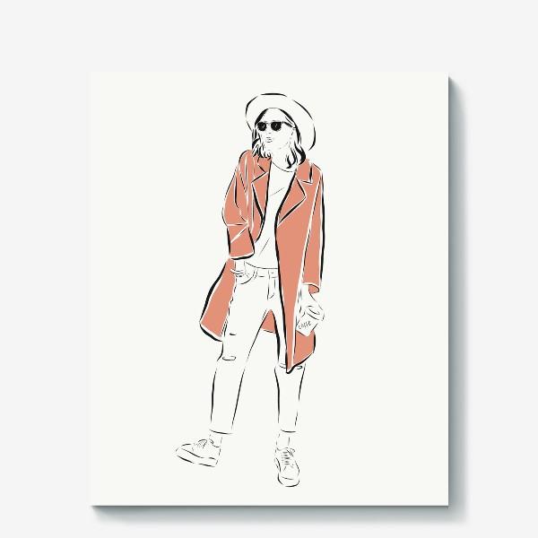 Холст «Стильная девушка в пальто,и с кофе в руках»