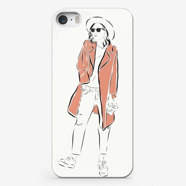 Чехол iPhone «Стильная девушка в пальто,и с кофе в руках»