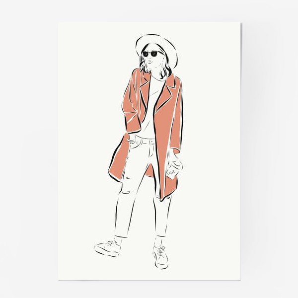 Постер «Стильная девушка в пальто,и с кофе в руках»