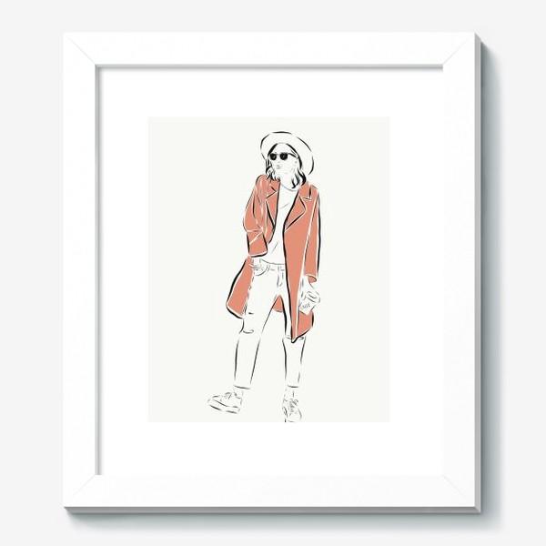 Картина «Стильная девушка в пальто,и с кофе в руках»