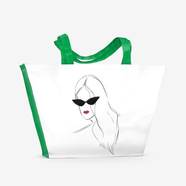 Пляжная сумка «Девушка в черных очках. Fashion-girl»