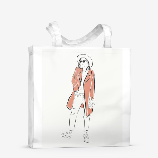 Сумка-шоппер «Стильная девушка в пальто,и с кофе в руках»