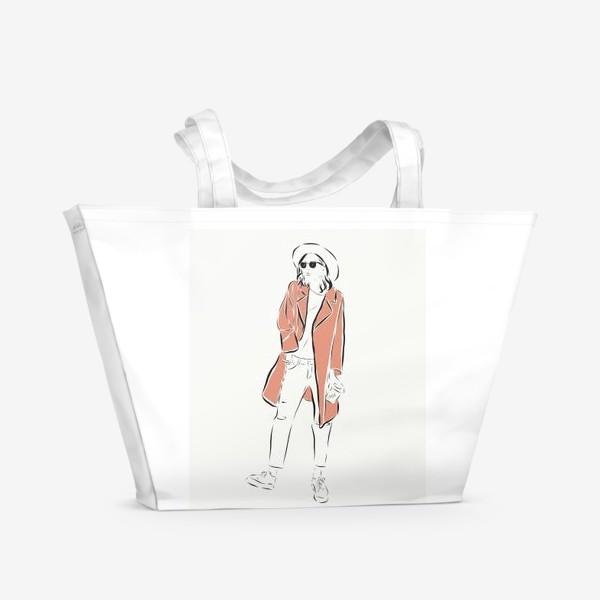 Пляжная сумка «Стильная девушка в пальто,и с кофе в руках»