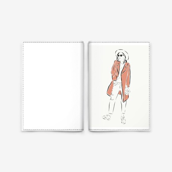 Обложка для паспорта «Стильная девушка в пальто,и с кофе в руках»