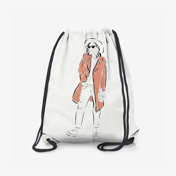 Рюкзак «Стильная девушка в пальто,и с кофе в руках»