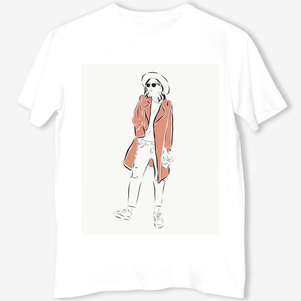 Футболка «Стильная девушка в пальто,и с кофе в руках»