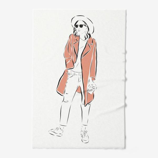 Полотенце «Стильная девушка в пальто,и с кофе в руках»