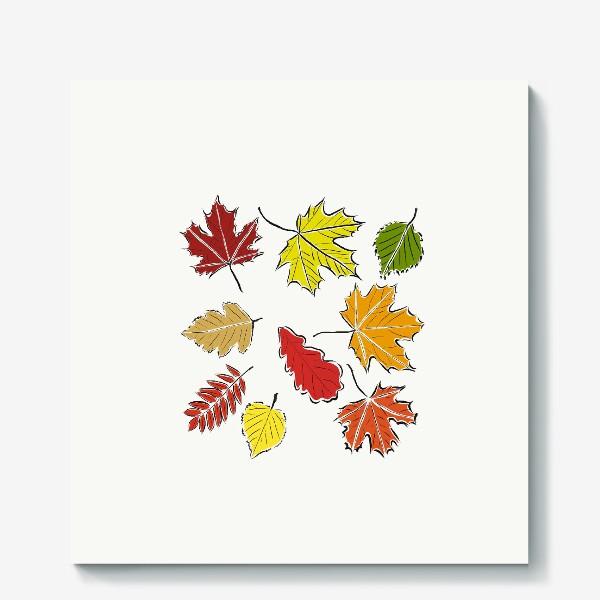 Холст «Осенние падающие листья»